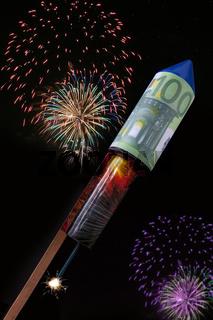 Silvesterrakete mit Euronote