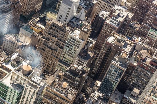 New York City, Midtown Manhattan building rooftops. USA.