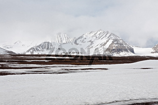Snowy mountains in Ny Alesund, Svalbard islands