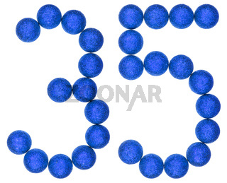 Numeral 35, thirty five, from decorative balls, isolated on white background