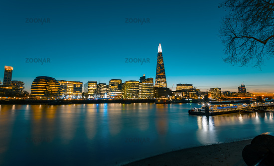 View on London Cityscape panorama at sunset, modern style