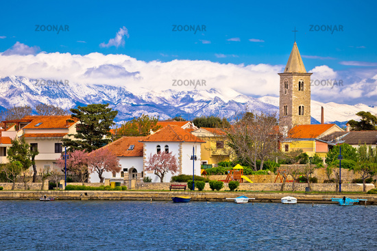 Town of Nin and Velebit mountain background