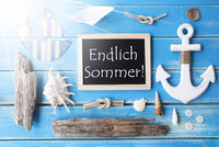 Sunny Nautic Chalkboard, Endlich Sommer Means Happy Summer
