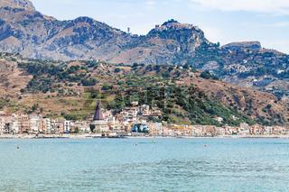 Giardini Naxos town on Ionian sea and Taormina