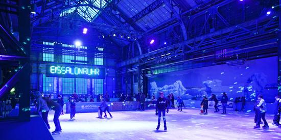 Skater in the EisSalon Ruhr, Jahrhunderthalle, Bochum, North Rhine-Westphalia, Germany, Europe