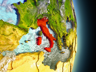 Italy in red from space