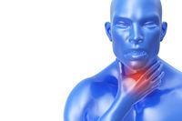 senior man with throat or neck pain irritation. 3d illustration