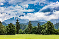 Beautiful natural landscape of the Alps. Forggensee and Schwangau, Germany, Bavaria