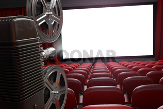 Movie projector and blank cinema screen with empty seats. Cinema, movie or home video concept background.