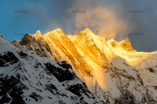 Annapurna summit at sunrise