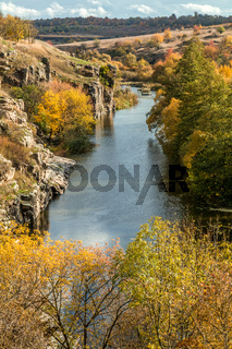 Terrific view of the River Canyon on a sunny fall dayTerrific view of the River Canyon on a cloudy fall day. Buky Canyon on the Hirs'kyi Tikych river in Ukraine
