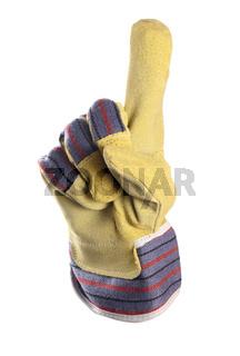 Working mens gloves on white background