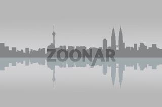 Kuala Lumpur panorama graphic reflection