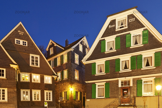 historical old city of Langenberg in the twilight, Velbert, North Rhine-Westphalia, Germany, Europe