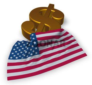 dollarsymbol und flagge der usa - 3d illustration