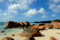 Island of Praslin at Seychelles with granite rocks