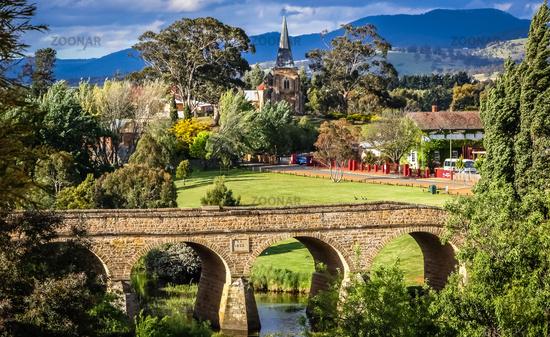 Bridge and townscape of Richmond in Tasmania, Australia