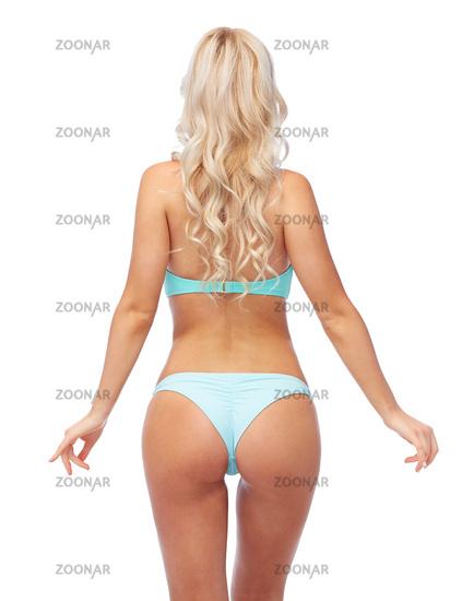woman in bikini swimsuit from back