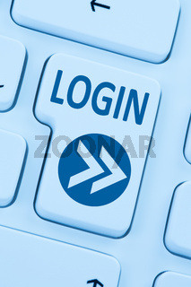 Login Button anmelden online Internet Computer blau web