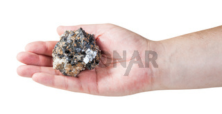 specimen of zinc and lead mineral ore on male palm