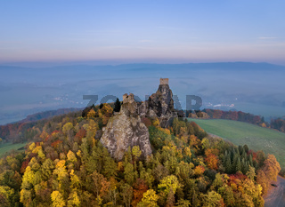 Trosky Castle in Bohemia paradise - Czech republic - aerial view