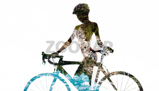 Double exposure of a naked woman with a bicycle. Combined with a nature. Isolated on a white background