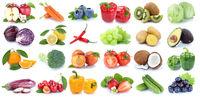 Obst und Gemüse Früchte Apfel Orange Tomaten Salat Weintrauben frische Collage Freisteller freigestellt isoliert