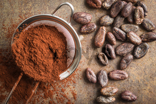 Dark cocoa powder in a sieve and cocoa beans.