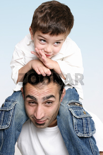 Spending time on Dad's shoulders