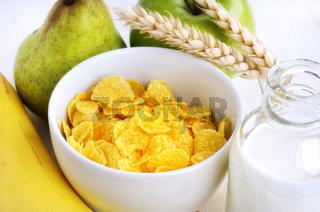 Cornflakes und Obst