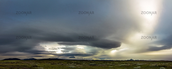 Huge storm in the icelandic highland. Dramatic clouds and sky.