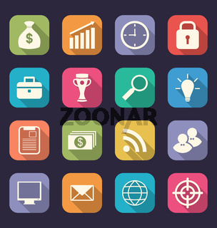 Set flat icons of business, office and marketing items, style wi