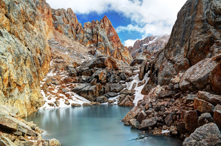Iced lake surrounded by Schalbus-Dag mountain, Dagestan, Caucasus Russia
