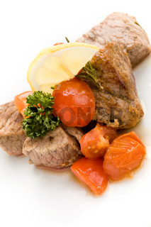 Meat with fresh tomatoes