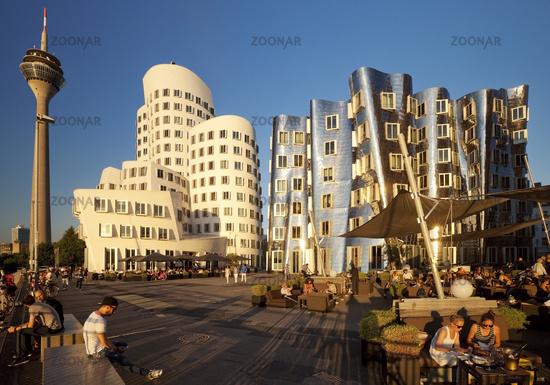Neuer Zollhof, Gehry buildings with the Rhine tower, Duesseldorf, North Rhine-Westphalia, Germany