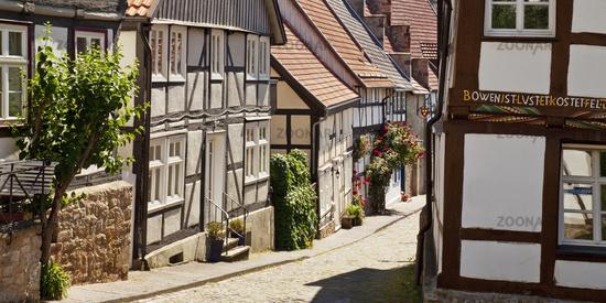half timbered-houses in the old city, Warburg, East Westphalia, North Rhine-Westphalia, Germany