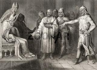 John Wycliffe, 1330 - 1384, an English church reformer before a court