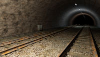 Old rail train tunnel with double track.