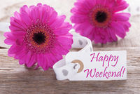 Pink Spring Gerbera, Label, Text Happy Weekend