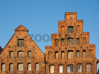 Giebel der Salzspeicher von Lübeck, Deutschland