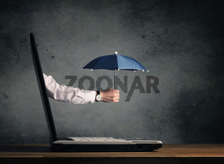 Protect your hardware, notebook with umbrella
