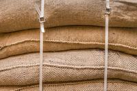 Background of stacked burlap sacks