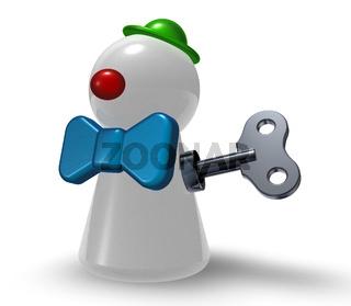 spielfigur zum aufziehen mit clownkostüm - 3d illustration