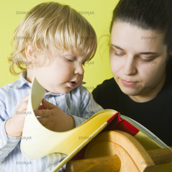 Mother reads to