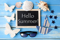 Blackboard With Maritime Decoration And Text Hello Summer