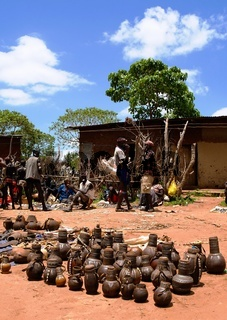 Traditional pitchers and pots at handicrafts local market Kei Afer, Omo valley, Ethiopia