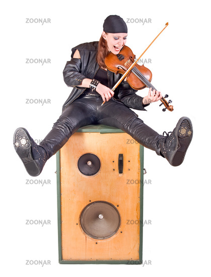 rocker with a violin on white background