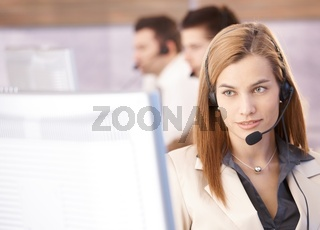 Portrait of beautiful female dispatcher