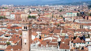 view of Verona city with torre del gardello