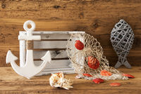 Nautic Summer Decoration With Wooden Background